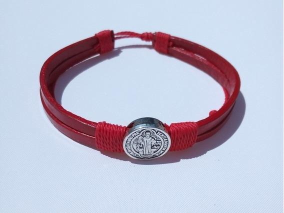Pulsera Plata Piel Legítima Roja Medalla San Benito Acero