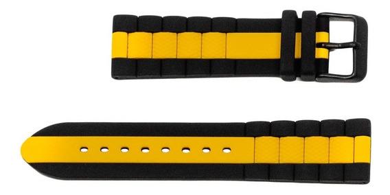 Correa Cat Negro/amarillo 22 Mm Pq.169.27.137.c