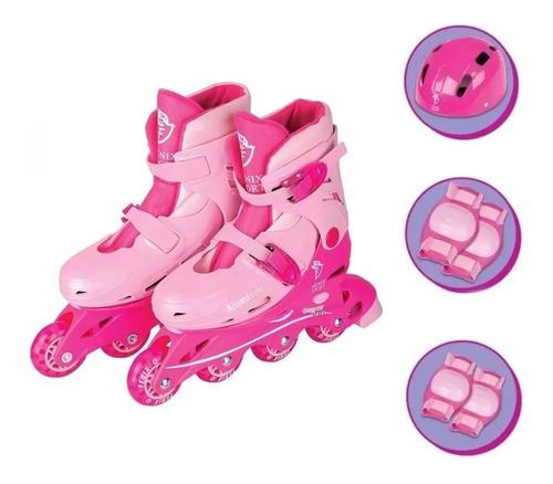 Imagem 1 de 7 de Kit Patins Infantil Feminino Roller 4 Rodas Proteção Rosa