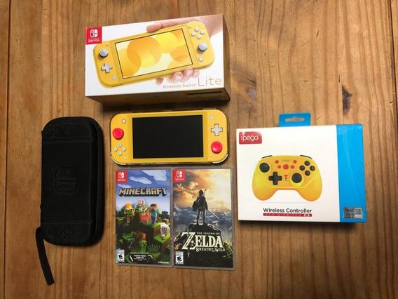 Nintendo Switch Lite 32gb 5 Jogos + Controle + Cartão De 120
