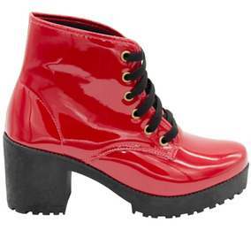 Coturno Feminino Bota Tratorada Cano Curto Sapato Salto Moda