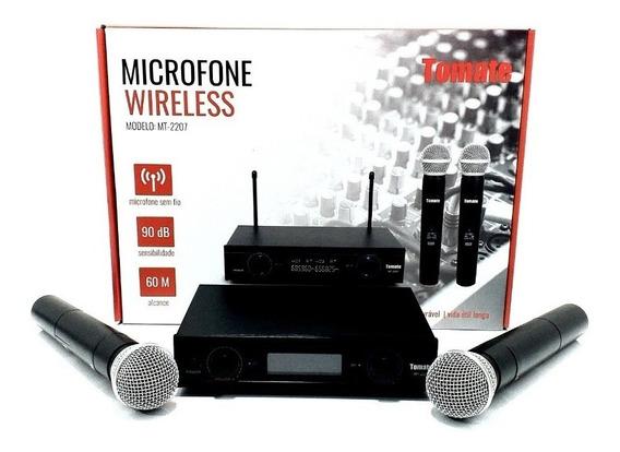 Microfone Sem Fio Duplo Uhf Profissional Palestra Karaokê