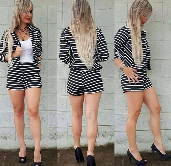 Combo Com 3 Blazer Listrado Feminino E Short Cintura Alta