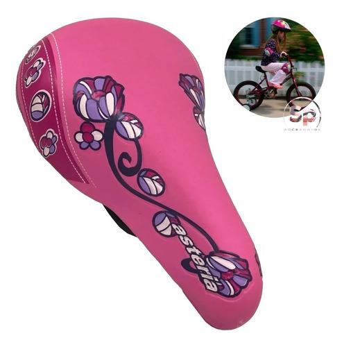 Imagen 1 de 8 de Asiento Para Bicicleta Infantil Rieles De Acero Diseño Niña