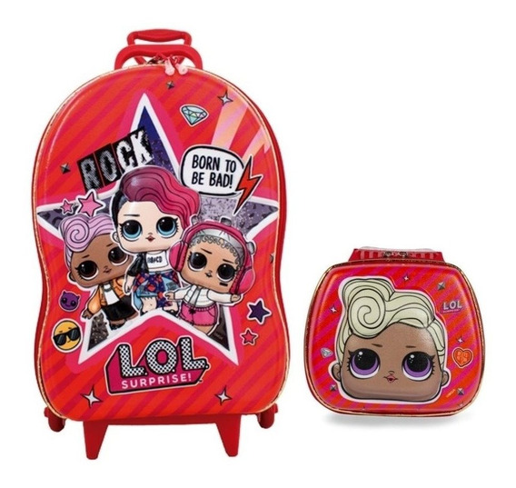 Kit Mochila 3d Infantil Com 3 Rodinhas E Lancheira Lol Mc