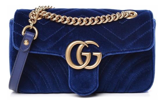 Bolsa Gucci Gg Marmont Velvet Azul - Pronta Entrega
