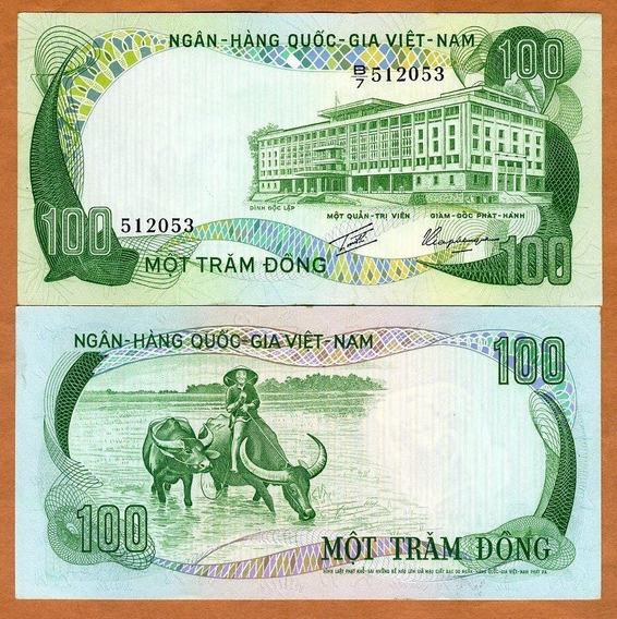 Vietnã Do Sul 100 Dong 1972 P. 31 S/fe Cédula - Tchequito