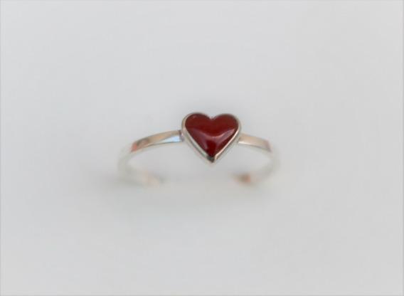 Anel De Prata 950 Solitário Coração Vermelho