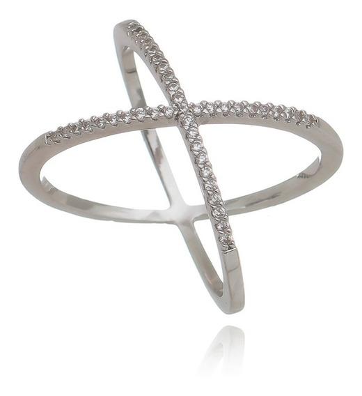Anel X Fino Cruzado Zircônia Cristal Semi Joia Ródio Branco