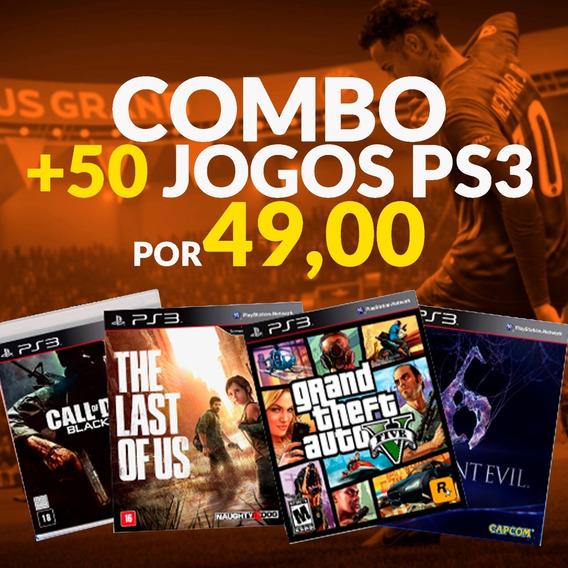 Pacote De Jogos Com + 50 Jogos Ps3 Psn- Fifa - God Of War..