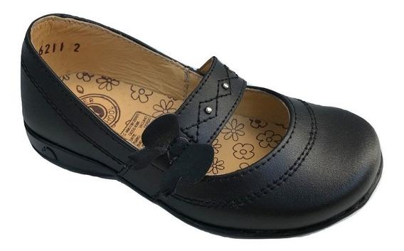 Zapato Escolar Colegial Yondeer 6211 Para Niña Piel Negro