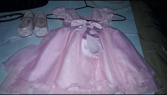 Vestido Rosa De 8 Meses À 1 Ano E 2 Meses + Sapato Rosa