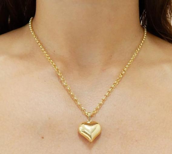 Cordão De Corrente Portuguesa Com Pingente Coração Em Ouro