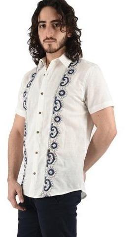 diseñador de moda varios estilos venta barata del reino unido Guayabera Blanca Hombre Bordado Artesanal Flavio/b Livello