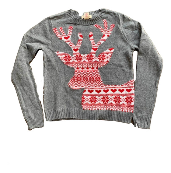 Suéter Navideño Mujer, Suéter Navidad Gris Reno