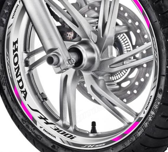 Friso + Adesivo Interno Refletivo D8 Roda Moto Honda Sh 300i