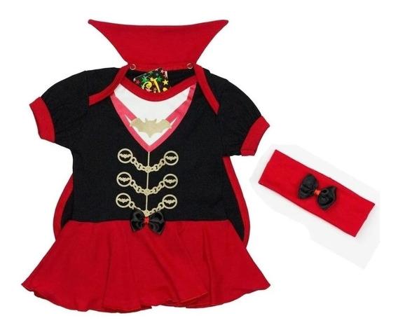 Body Infantil Vestido Dracula Com Capa E Arquinho Bcd01