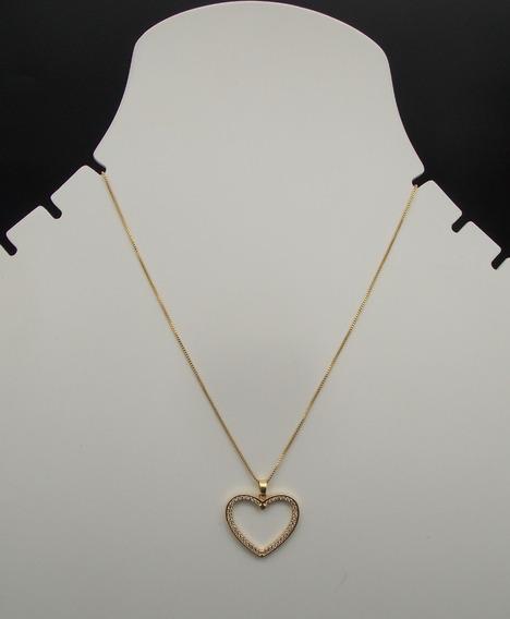Colar Coração Vazado 2,5cm Banhado À Ouro 18k