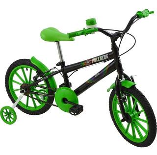 Bicicleta Infantil Masculina Aro 16 Polikids Preta