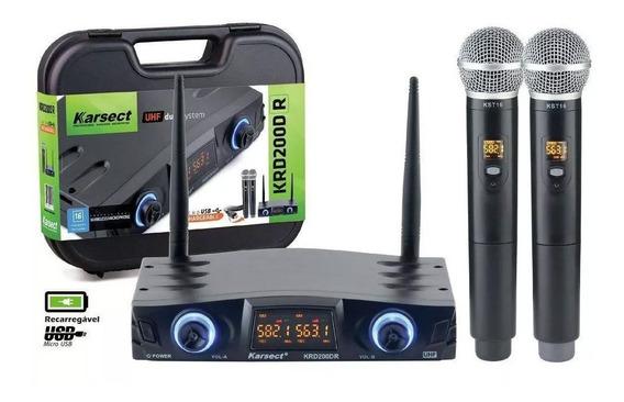 Microfone Sem Fio Karsect Krd200 Dr Uhf Duplo Recarregavel