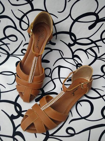 Calzado Colombiano Sandalia Elegante Color Piel Envío Gratis
