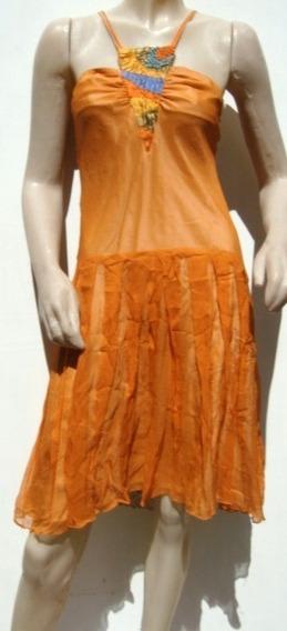 Varanasi Vestido 100% Seda Naranja (ana.mar)