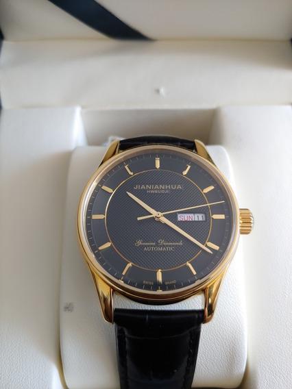 Relógio Automático 21 Rubis Preto E Dourado