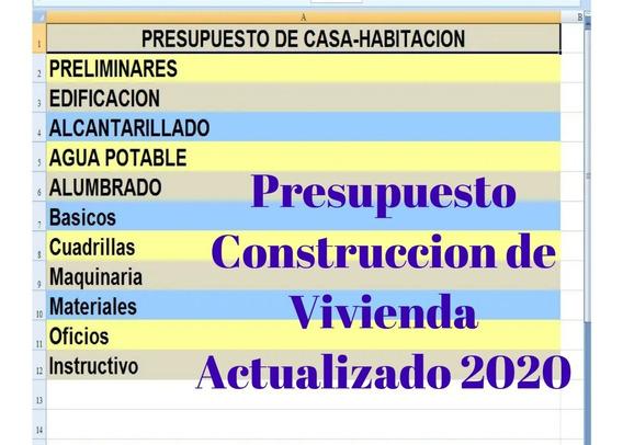 Presupuesto Excel Construccion De Vivienda Diciembre-2019