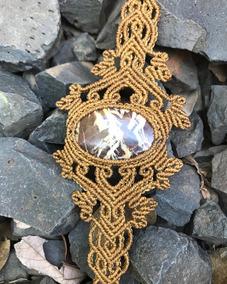 Bracelete Macrame Com Pedra Jaspe