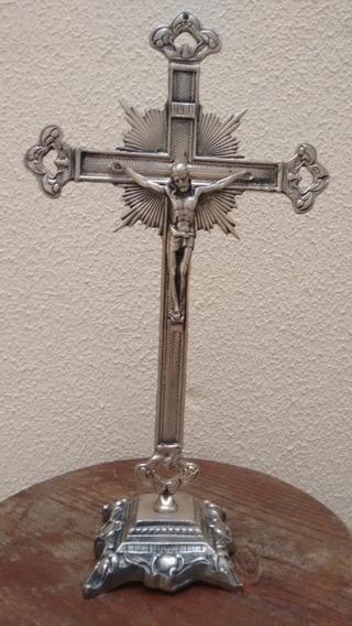 Crucifixo De Mesa Em Bronze 38 Cm Altura Jesus Altar