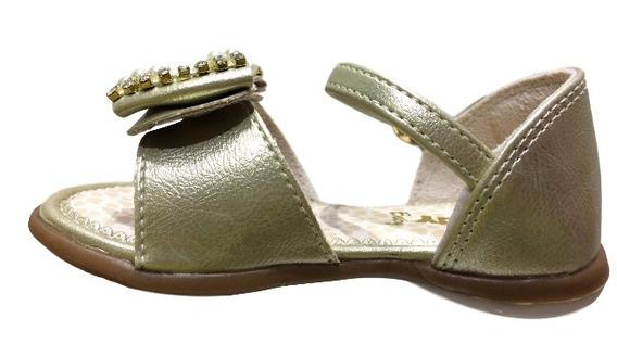 Sandalia Ouro Dourado Baby Equilibrio Laço Strass Kidy 0618