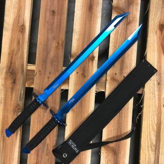 Doble Ninjato Azul Con Filo Espada Katana Envio Gratis 71cm