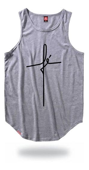 Camiseta Regata Masculina Longline Com Estampa Fé Vcstilo