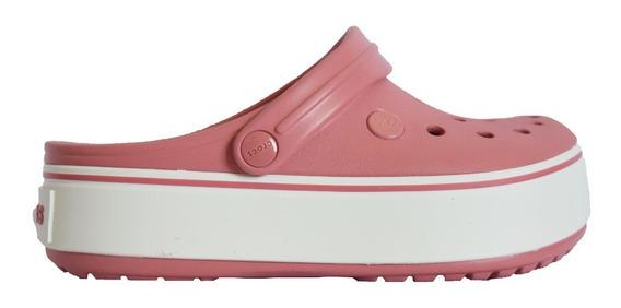 Crocband Plataforma Clog Rosa Con Blanco
