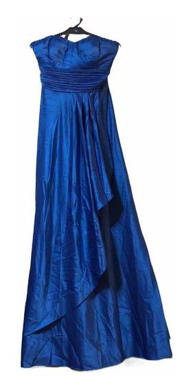 Vestido De Fiesta Largo Strapless Con Plisado Como Nuevo!