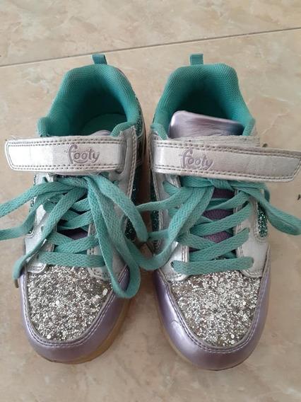 Zapatillas Footy N°32. Niña. Con Luz Y Brillo. Impecables.