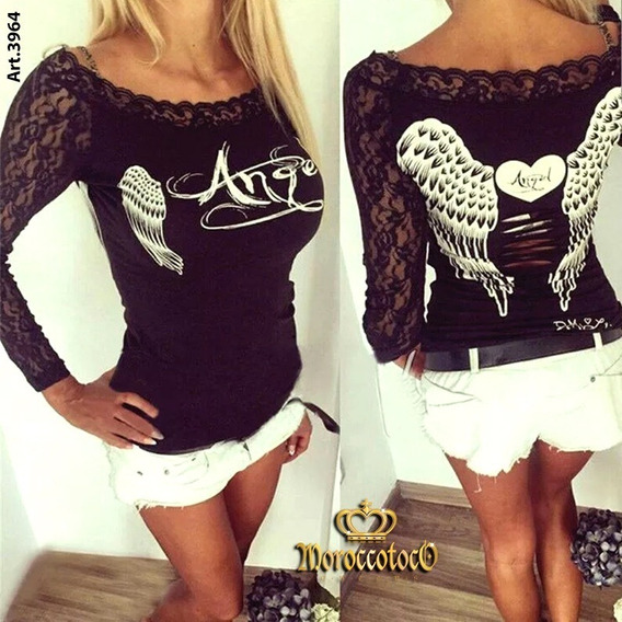Camiseta Mujer Angels Alitas Encaje Importada Art 3964