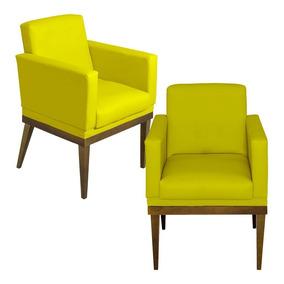 Kit 02 Poltrona Cadeira Sala Espera Clinica Recepção Luis Xv