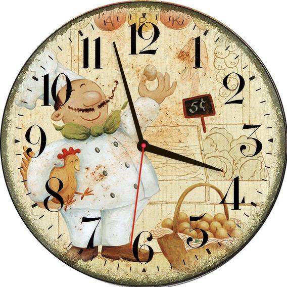 Relógio De Parede Estilo Rústico Chefe Cozinha 30 Cm
