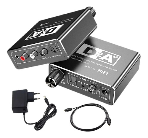 Conversor Áudio Óptico Toslink Coaxial P/ Rca E P2 C/ Volume