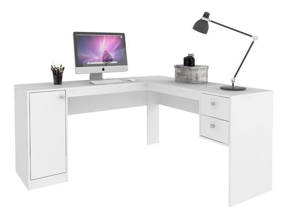 Escrivaninha L 1 Porta 2 Gavetas Ho-2935 - Branco Tx/branco