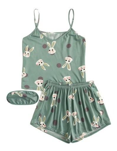 Conjunto De Pijama De Tirante Con Estampado De Conejos