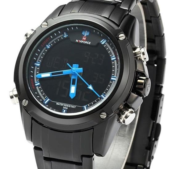 Relógio Naviforce Original Nf9050 Preto Masculino,todo Metal
