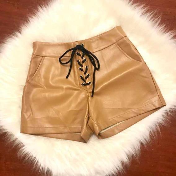 Shorts Couro Cintura Alta Caramelo