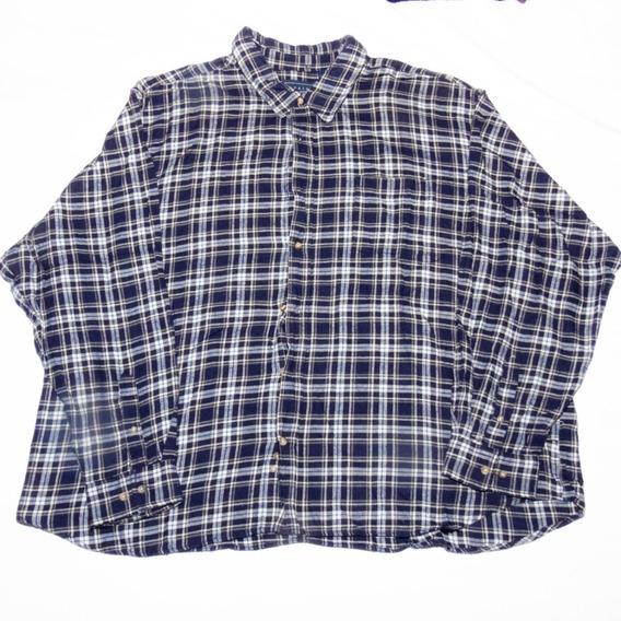 Camisa Hombre Manga Larga Franela Azul A Cuadros 4xl