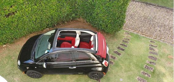 Fiat 500 Cabrio Preto 2015 Conversível, Baixa Kilometragem.