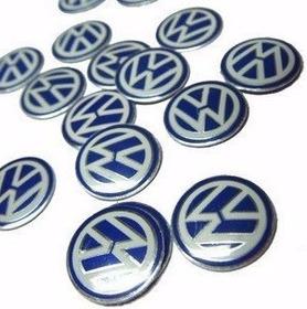 10 Emblemas Chave Canivete Logo Vw Azul 14 Mm Alumínio
