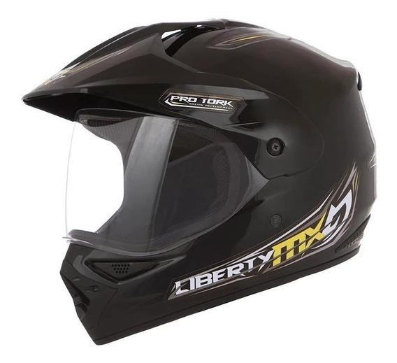 Capacete para moto Pro Tork Liberty MX Pro Vision pretoL