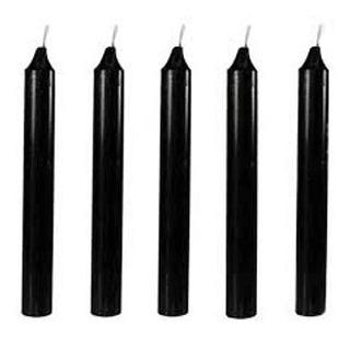 Velas Negras Set De 7 12 Cm