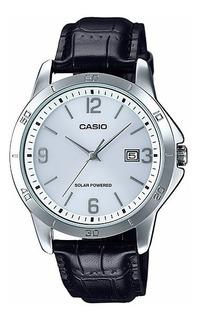 Reloj Casio Mtp-vs02l-7a Cuero Negro Solar Unico